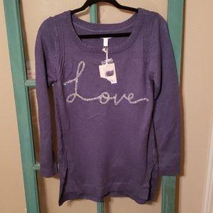 Lauren Conrad S NWT blue sequin 'love' sweater